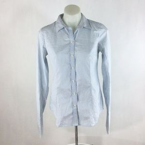 Ann Taylor Shirt Button Up Blue Striped Fitted